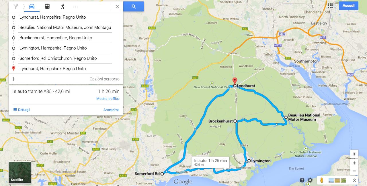 Itinerario:  -da Lyndhurst a Beaulieu percorrendo la B3056 -proseguendo sulla B3054 fino ad imboccare la A337 in direzione Christchurch - A 35 di ritorno a Lyndhurst