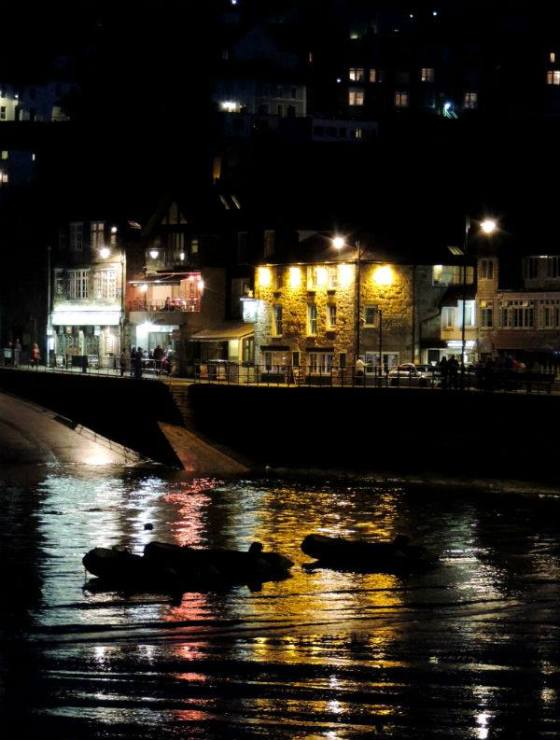 St. Ives harbor by night